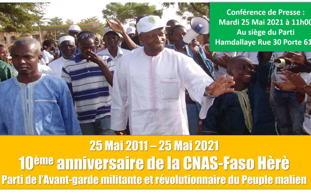 Déclaration liminaire conférence de presse à l'occasion du 10ème anniversaire de la CNAS-Faso Hèrè – BAMBARA